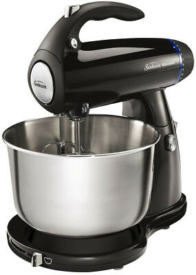 Stand Mixer 4.0 Qt Stainless Steel Bowl 350-Watt 12-Speed Beaters Hooks Black