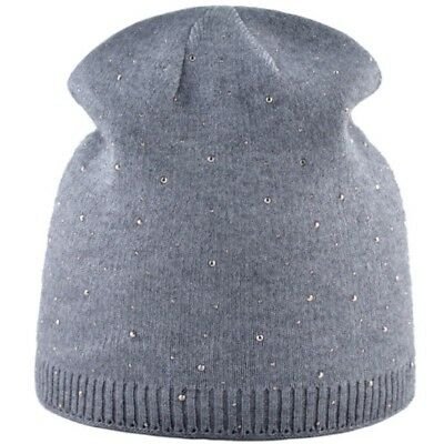 Women's Beanie Hats Autumn Winter Knitted Rhinestone Caps for Girls Fashion