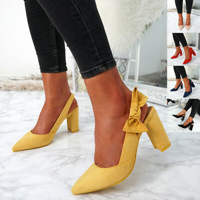 Womens Ladies Sling Back Bow Pumps High Block Heels Pointed Toe Shoes