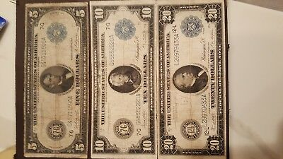 Lot of 3 1914 Large notes $5, $10, $20