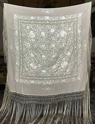 "Antique Chinese Hand Embroidery Piano Shawl 55"" X 56"" Fringe 24"" White"