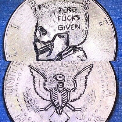 Hand Carved Hobo Nickel Coin Art Zero F Given Skull Half Dollar Double Sided