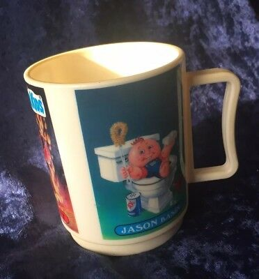 Retro 80s 1986 Garbage Pail Plastic Cup Mug Mean Gene Hot Scott Jason Basin