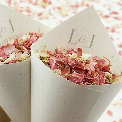 Handcrafted Personalised Initials Wedding Confetti Cones 100% Recycled