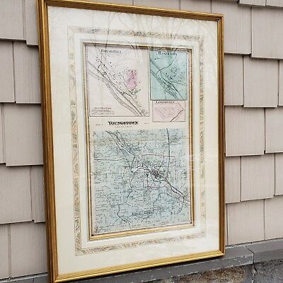 "Antique 1894 Framed Map of Youngstown, Ohio ~ 14"" x 23"""