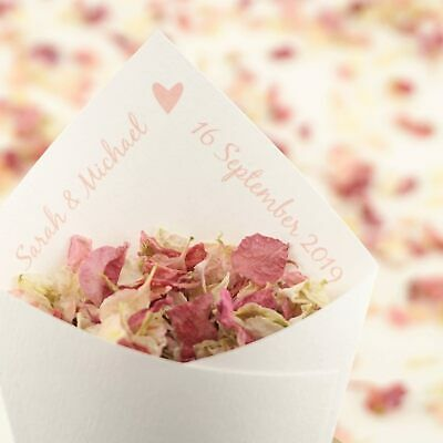 Personalised Handcrafted Love Heart Wedding Confetti Cones 100% Recycled