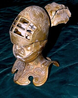 Rare French Medieval Knight  Bronze/ Brass Bust Inkwell
