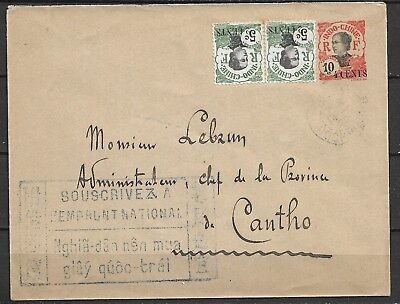 FRANCE COLONY INDOCHINE RARE STATIONARY 4cSURCHARGE + FRANKg COMPL. 2X5c SURCH.