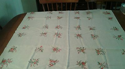 """Vintage Linen  Tablecloth Startex or Leacock? 43"""" Square Needlepoint Style Motif"""