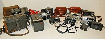 Job Lot Mixed Vintage Film Cameras, Brownies, Lens & Cases - Spares and Repairs
