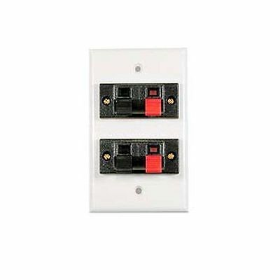 Speaker Jack Wall Plate White 16 GA wire Dual Clip up to 16 AWG