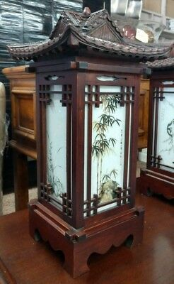 "Vintage Wood Glass Pagoda Asian Electric 4 Panel Accent Lantern Lamp 1960s 22""H"