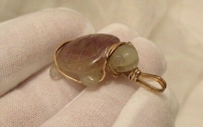 Vintage Gold Plated  Green/grey & Purple Carved Stone Turtle Chinese Pendant