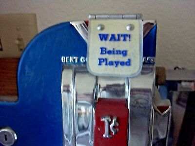 "Wait Being Played Mills, Jennings, QT slotmachine Coin Door Original 2"" X 2 1/4"""