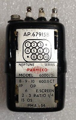 Parmeko Input Matching Transformer Neptune 1/4 Ratio Model 6000/31 Signal Potted