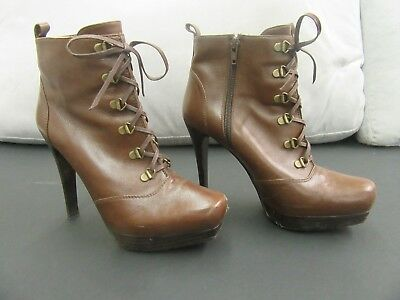 "Stuart Weitzman Size 7.5 M Brown Leather Platform Ankle Boots w 4.5"" High Heel"