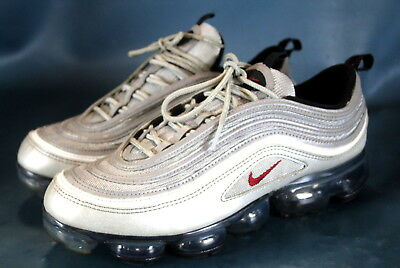 Nike Air VaporMax 97 Silver Bullet Metallic Silver Varsity Red White Size 9