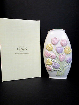 """LENOX Tulip Vase 7.75 """" Tall-Colored Tulips Double Sided Very Pretty NEW W/BOX"""
