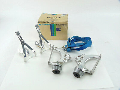 Nylon Straps Vintage NOS Shimano Dura Ace AX Pedals Dynadrive with L Toe Clips