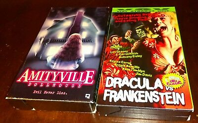 Horror VHS Tape Lot Rare OOP Amityville Dollhouse + Dracula vs Frankenstein !!!!