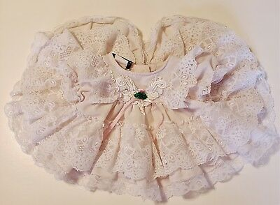 Vintage Baby Girl FrillyRuffle Dress by JoLene ~ Light Pink and White, Size NB!