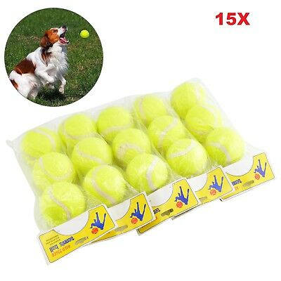 15 x Tennis Balls Bright Green For Pets Puppy Play Dog Toys Bouncing Ball New