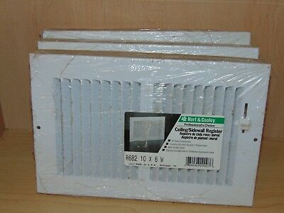 "3 Hart & Cooley White Steel 2-Way HVAC Register, 10""x6"" - 682 10x6 W NIP"