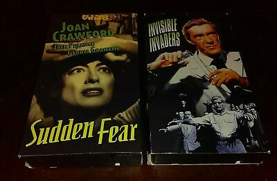 Horror VHS Tape Lot Rare OOP - Sudden Fear + Invisible Invaders - Sci-fi KINO