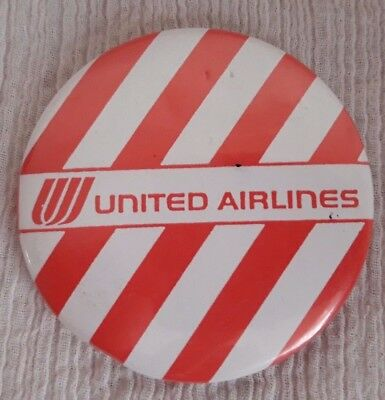 Vintage 1970s UNITED AIRLINES Pin-Back Button red/white stripe UA Tulip Logo