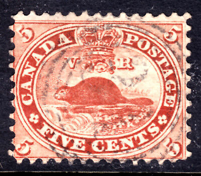 CANADA #15c 5c BRICK RED, 1859 FIRST CENTS PERF11.75, F, 4-RING31 PICTON