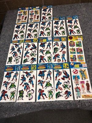 Vintage 1988 Marvel Comics Super Heroes And Ghost Busters Puffy Stickers 18 Card