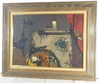 Sidney Gross ABSTRACT EXPRESSIONIST OIL PAINTING VINTAGE Listed NEW YORK 1959
