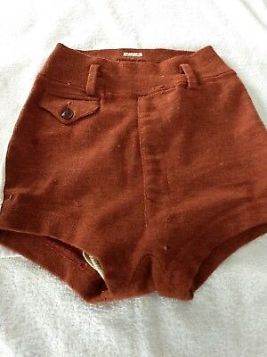 1930s Wool Belted Men's Swim Dive Trunks brown with button Pocket size small