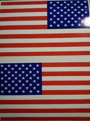 """2 New American Flag Sticker Decal For Car Truck Boat Patriotic 3.5/"""" x 5.5/"""" USA"""