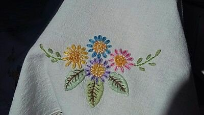 Beautiful circular hand woven & embroidered vintage tablecloth with lace border