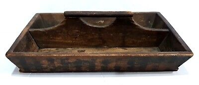 Fine Antique Primitive Folk Art Canted Side Wood Wooden Cutlery Utensil Box Tray