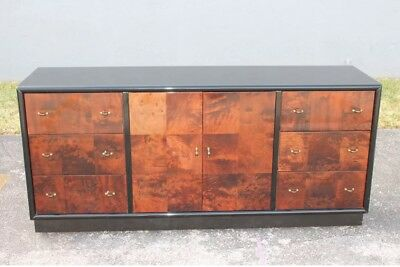 Art Deco Black Lacquer/ Exotic Burl Wood Inlay Buffet By Henredon