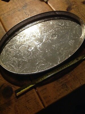beautiful antique silver plated on copper gallery tray.ornate,vintage,
