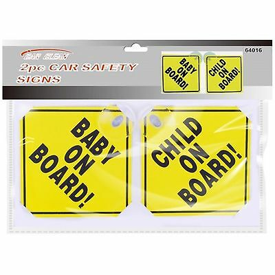 CAR CHILD YELLOW SAFETY SIGNS +SUCTION CUPS Vehicle Window Sticker Baby On Board