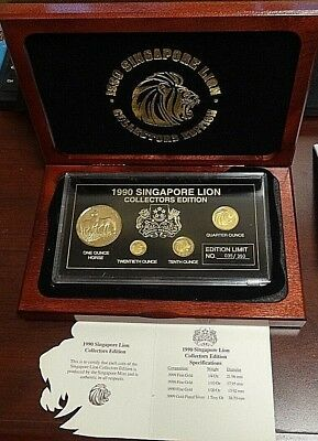 1990 Singapore Lion Collectors Edition Gold & Silver Chinese Coins