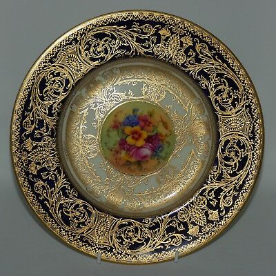 ROYAL WORCESTER handpainted and heavily gilt Blue floral plate E Barker c.1926