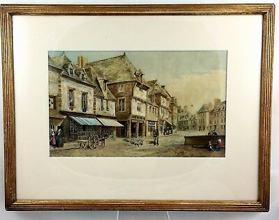 19th CENTURY VICTORIAN PERIOD WATERCOLOUR FRENCH STREET SCENE  **J.H.EASTWOOD**