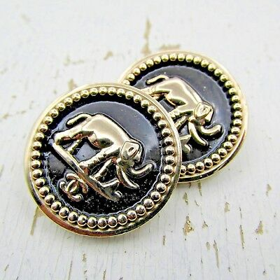 2 Round CC Elephant Chanel Button Logo 22mm Golden Black  Jewelry  Replacement