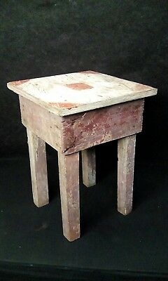 Antique Vintage Primitive Rustic Handmade Wood Stand Table