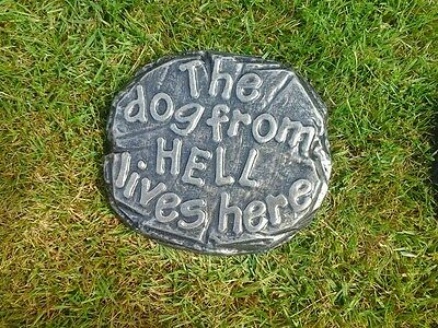 The dog from hell lives here gold.wall plaque.comical sign.house sign.gift ideaf