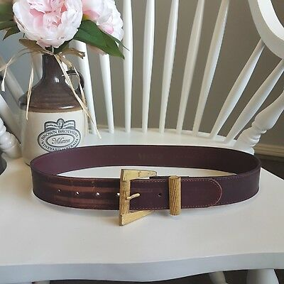 Vintage 1970s Visage Maroon Red Real Leather Belt Gold Plated Brass Buckle Italy