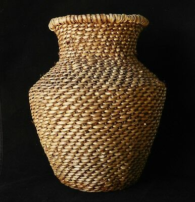 "Vintage Apache Woven Willow Basket Vase Shape Tus - 10.5"" x 9"""