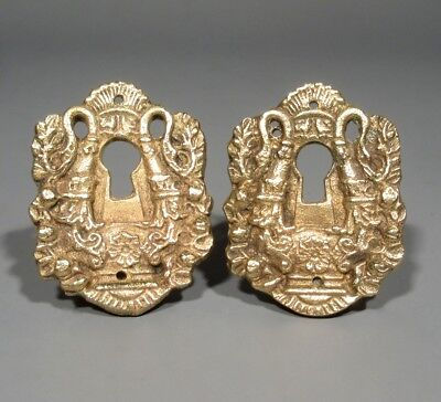 Pair of Antique French Bronze Escutcheons, Key Hole Covers, Swans