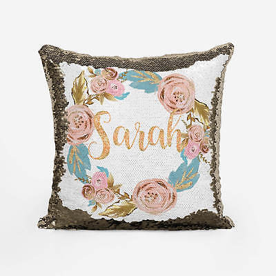 Personalise Rose Gold Floral wreath Sequin Cushion reversible sequin Pillow