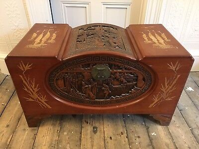 Large Antique Camphor Wood Oriental Asian/Chinese Carved Chest